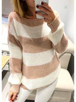 Suéter Milán blanco y rosa