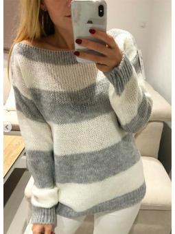 Suéter Milán gris y blanco