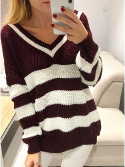Suéter/vestido rayas granate