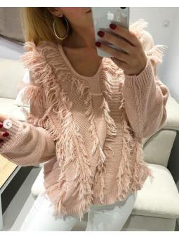 Suéter desflecado rosa