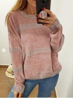 Suéter chenilla rosa y...