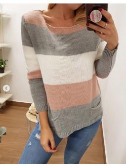 Suéter tricolor gris y rosa...