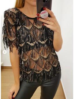 Camiseta fiesta flecos negra