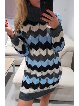 Vestido zigzag azul claro