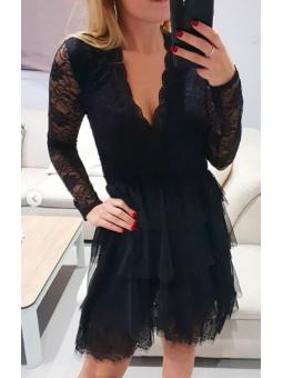 Vestido corto negro tul y...