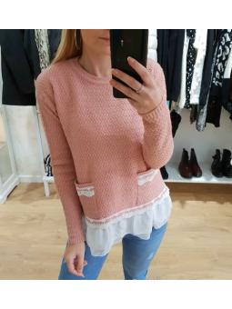 Suéter rosa puntilla