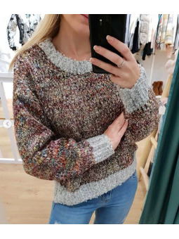 Suéter jaspeado multicolor...