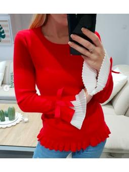 Suéter rojo mangas plisadas