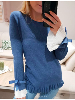 Suéter azul vaquero mangas...
