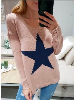 Suéter rosa estrella azul