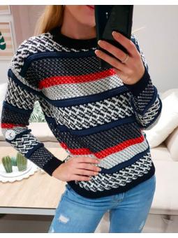 Suéter azul marino y rojo Lima