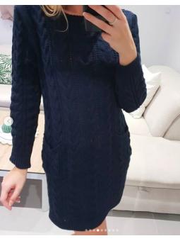 Vestido lana bolsillos azul...
