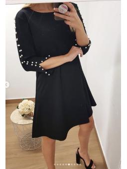 Vestido negro liso perlitas...