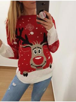 Suéter navideño reno rojo