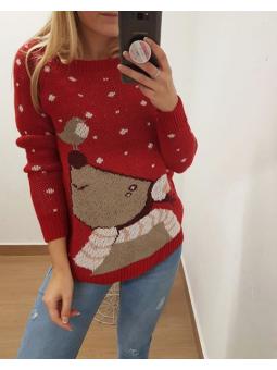Suéter navideño pajarito rojo