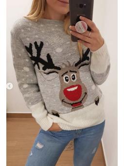 Suéter navideño gris reno