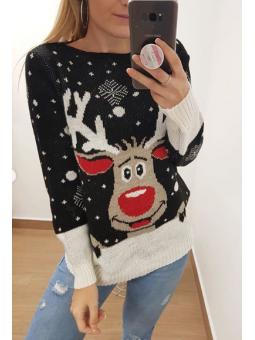 Suéter navideño reno negro