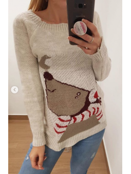 Suéter navideño pajarito beige