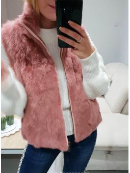 Chaleco pelito rosa corto