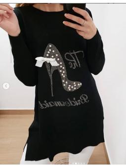 Suéter/vestido tacón negro
