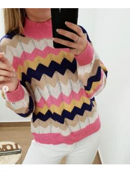 Suéter Oporto zig-zag tonos...