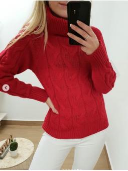 Suéter rojo cuello alto nudos