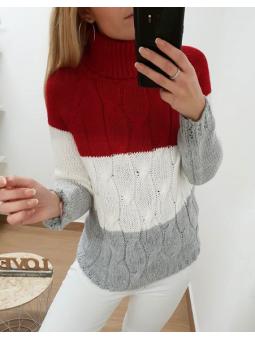 Suéter tricolor rojo,...