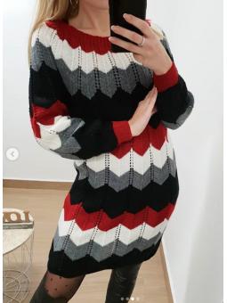 Vestido zig zag rojo y negro