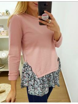 Suéter rosa volantito flores