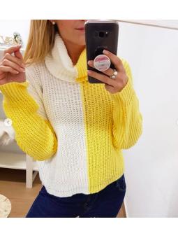 Suéter blanco y amarillo