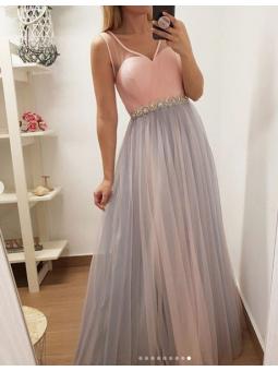 Vestido Sofia rosa y gris