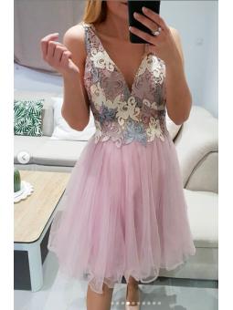 Vestido fiesta rosa corto...