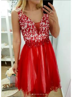 Vestido fiesta corto rojo...