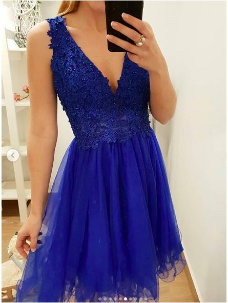 Vestido fiesta azul klein