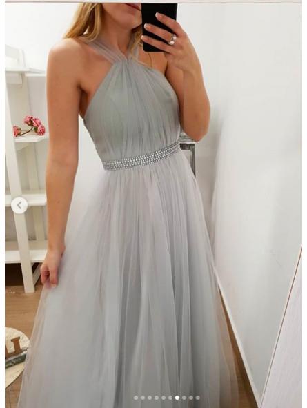 Vestido de fiesta largo gris