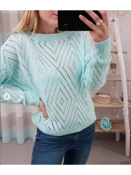 Suéter calado aguamarina