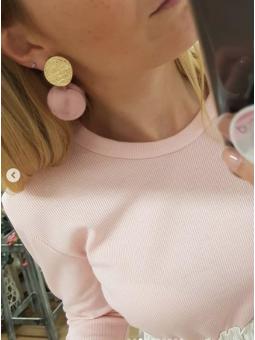 Pendientes chapa dorada y rosa