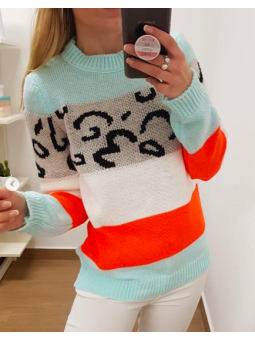 Suéter animal print franjas...