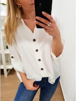 Camisa blanca lisa botones...