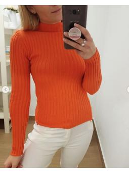 Suéter naranja canalé
