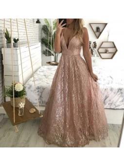 Vestido brillo oro rosa