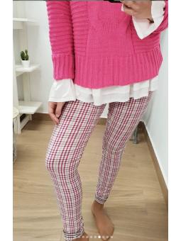 Pantalones cuadros fucsia