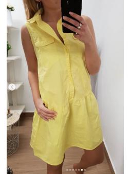 Vestido amarillo corto botones