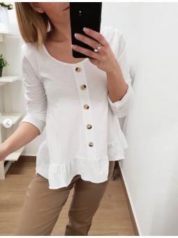 Camiseta blanca botones...