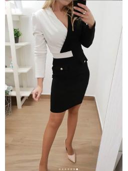 Vestido bicolor blanco y negro