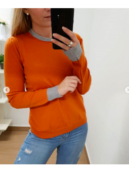 Suéter naranja franja lamé
