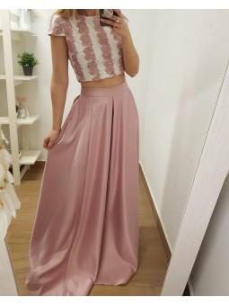 Falda raso rosa