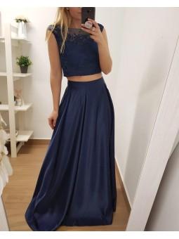 Falda raso azul marino