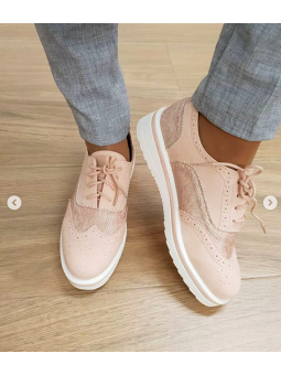 Zapato cordones rosa