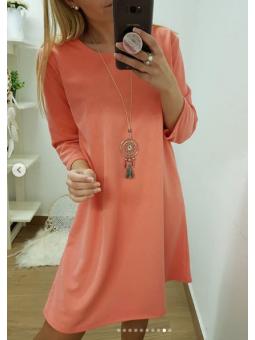 Vestido coral + collar